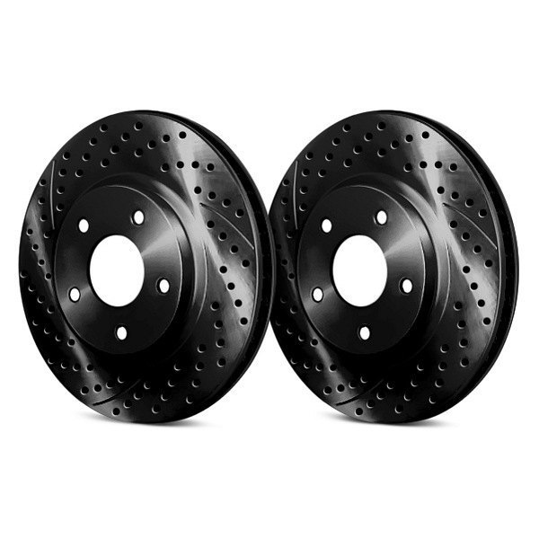 Chrome Brakes® - Vented Drilled and Slotted Black Front Rotors