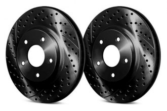 Chrome Brakes® CBX1.1109.1741B - Vented Drilled and Slotted Front Black Rotors (330mm OD, 6 Lug Holes, 52 Lbs)