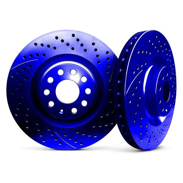 Chrome Brakes® - Vented Drilled and Slotted Blue Front Rotors