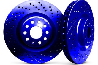 Chrome Brakes® CBX1.1109.0913U - Vented Drilled and Slotted Front Blue Rotors (255mm OD, 5 Lug Holes, 24 Lbs)