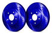 Image may not reflect your exact vehicle! Chrome Brakes® - Drilled and Slotted Blue Front Rotors