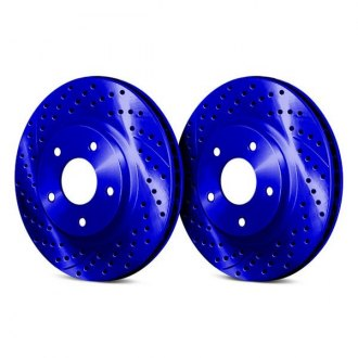 Chrome Brakes® - Drilled and Slotted Vented 1-Piece Front Brake Rotors