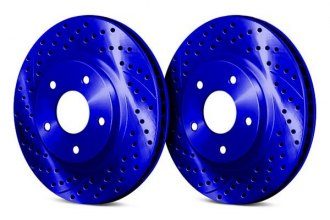 Chrome Brakes® CBX1.1109.0589U - Vented Drilled and Slotted Front Blue Rotors (321mm OD, 5 Lug Holes, 42 Lbs)