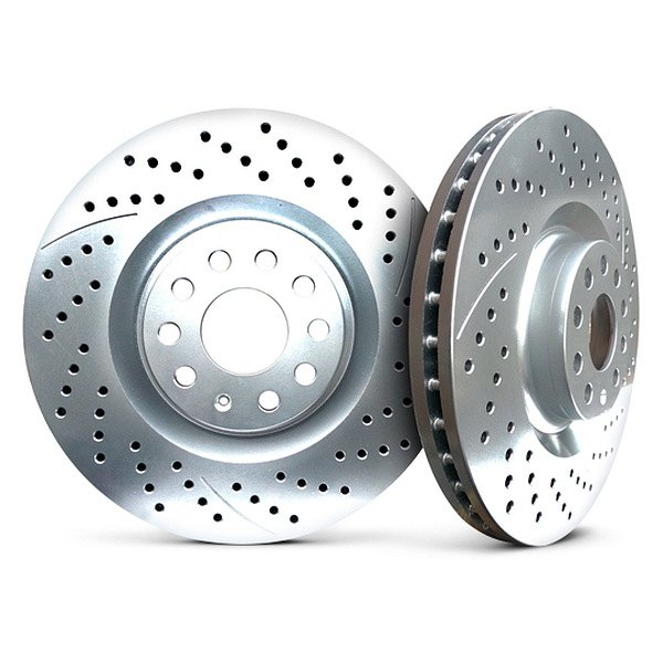 Chrome Brakes® - Vented Drilled and Slotted Chrome Rear Rotors