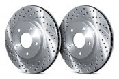 Image may not reflect your exact vehicle! Chrome Brakes® - Drilled and Slotted 1-Piece Rear Brake Rotors