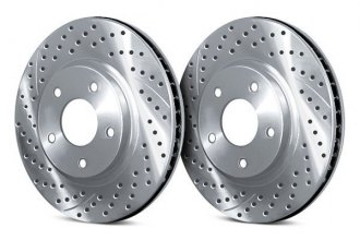 Chrome Brakes® CBX1.1109.0769C - Vented Drilled and Slotted Front Chrome Rotors (280mm OD, 4 Lug Holes, 32 Lbs)