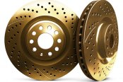 Image may not reflect your exact vehicle! Chrome Brakes® - Drilled and Slotted Gold Front Rotors