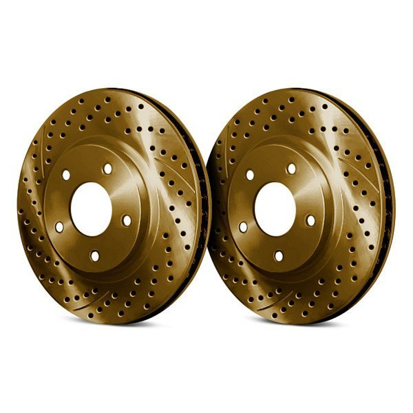 Chrome Brakes® - Drilled and Slotted 1-Piece Front Brake Rotors