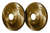 Image may not reflect your exact vehicle! Chrome Brakes® - Drilled and Slotted 1-Piece Front Brake Rotors