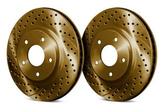 Chrome Brakes® CBX1.1109.1552G - Vented Drilled and Slotted Front Gold Rotors (276mm OD, 5 Lug Holes, 26 Lbs)