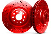 Image may not reflect your exact vehicle! Chrome Brakes® - Vented Drilled and Slotted Red Rear Rotors