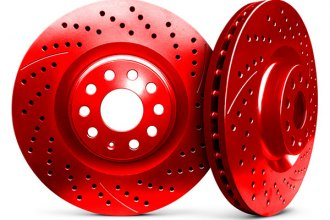 Chrome Brakes® CBX1.1109.1536R - Vented Drilled and Slotted Front Red Rotors (280mm OD, 5 Lug Holes, 28 Lbs)