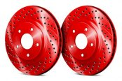Chrome Brakes® - Vented Drilled and Slotted Red Front Rotors