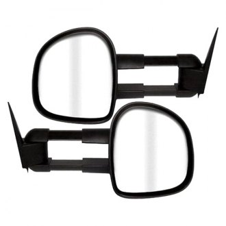 CIPA® - Driver and Passenger Side Textured Black Magna Extendable Replacement Towing Mirrors (Power, Foldaway, Flat Lens, Heated, OEM Design)