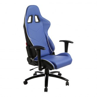Cipher® - CPA5001 Series Black and Blue Leatherette Office Racing Seat