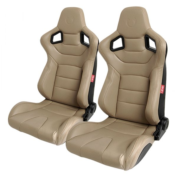 Cipher Auto® - CPA2001 Euro Series Reclinable Steel Tubular Frame Racing Seats, Beige Leatherette Cover with Brown Stitching