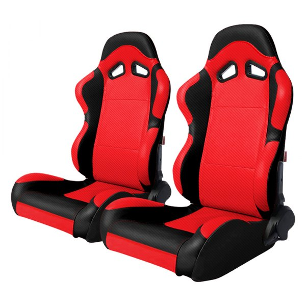 Cipher Auto® - CPA1003 Series Full Carbon Fiber PU Black and Red Reclining Racing Seats
