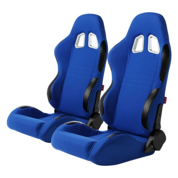 Cipher Auto® - CPA1007 Series Reclining Steel Tubular Frame Racing Seats, Blue Cloth Cover