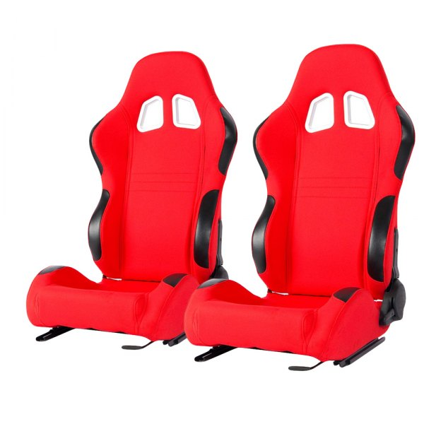 Cipher Auto® - CPA1007 Series Reclining Steel Tubular Frame Racing Seats, Red Cloth Cover