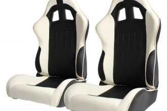 Cipher Auto® - CPA1009 Series Reclining Steel Tubular Frame Racing Seats, Black Leatherette Cover with White Insert