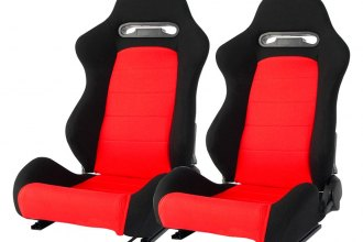 Cipher Auto® - CPA1013 Series Reclining Steel Tubular Frame Racing Seats, Black Cloth Cover with Red Insert