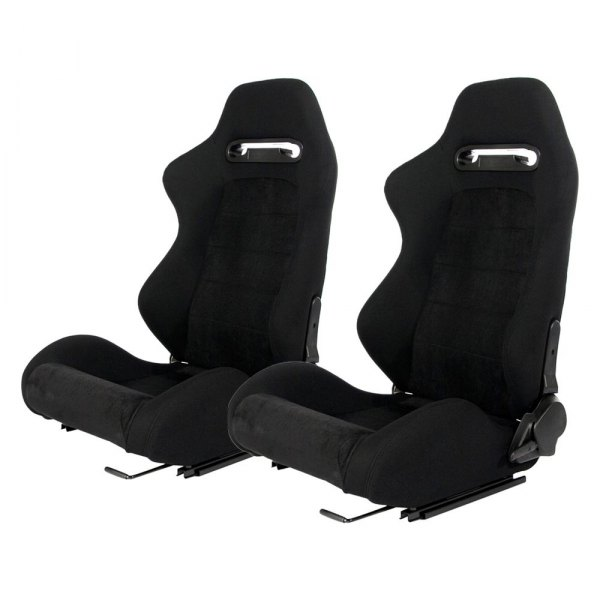 Cipher Auto® - CPA1013 Series Reclining Steel Tubular Frame Racing Seats, Black Cloth Cover