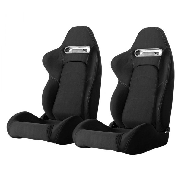 Cipher Auto® - CPA1019 Series Reclining Steel Tubular Frame Racing Seats, Black Cloth Cover with Gray Outer Stitching