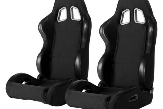 Cipher Auto® - CPA1025 Series Reclining Steel Tubular Frame Racing Seats, Black Cloth Cover