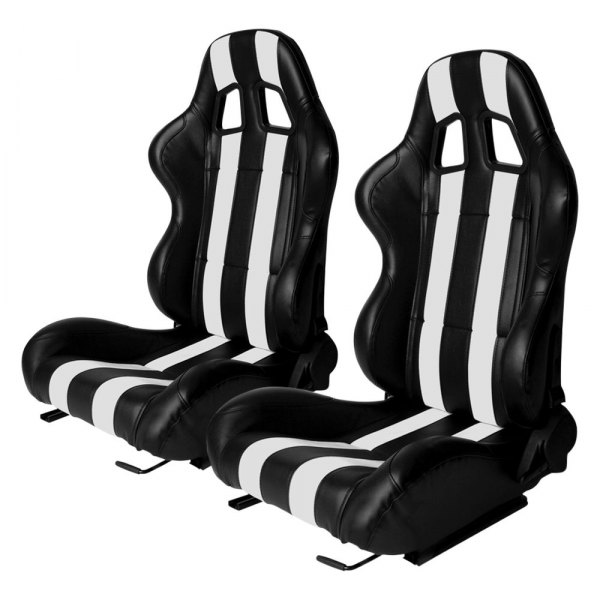 Cipher Auto® - CPA1026 Series Reclining Steel Tubular Frame Racing Seats, Black Leatherette Cover with White Strip