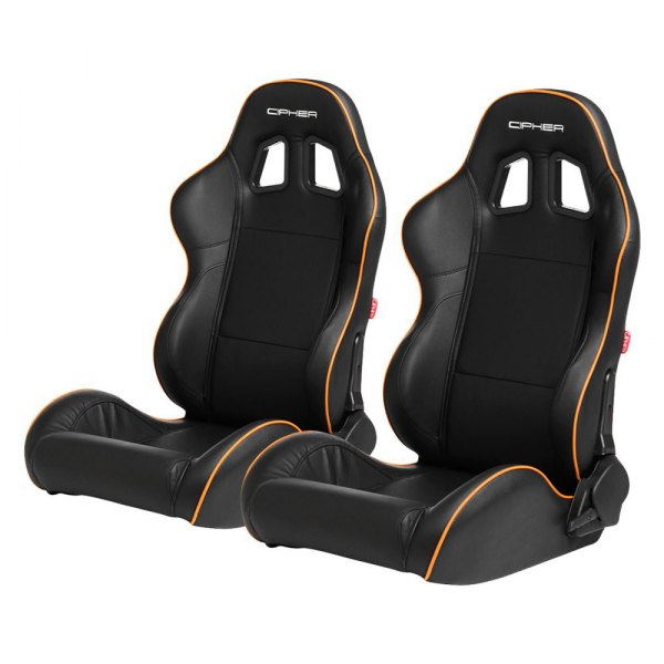 Cipher Auto® - CPA1031 Series Reclining Steel Tubular Frame Racing Seats, Black Leatherette Cover with Orange Accent Piping
