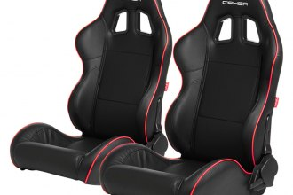 Cipher Auto® - CPA1031 Series Reclining Steel Tubular Frame Racing Seats, Black Leatherette Cover with Red Accent Piping
