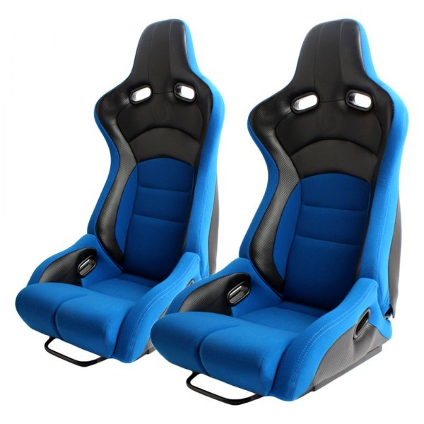 Cipher Auto® - CPA2002 Viper Series Blue Cloth with Carbon Leatherette Inserts Racing Seats