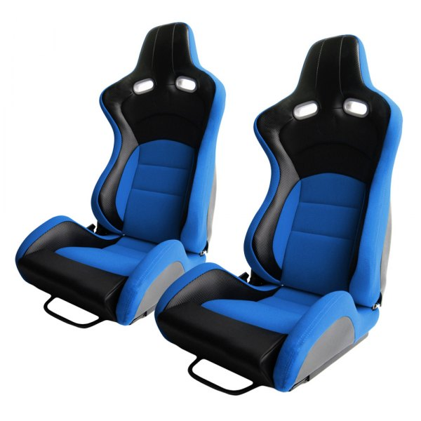 Cipher Auto® - CPA2003 VP-8 Series Reclinable Steel Tubular Frame Racing Seats, Blue Cloth Cover with Black Carbon Fiber Insert