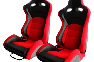 Cipher Auto® - CPA2003 VP-8 Series Reclinable Steel Tubular Frame Racing Seats, Red Cloth Cover with Black Carbon Leatherette Insert