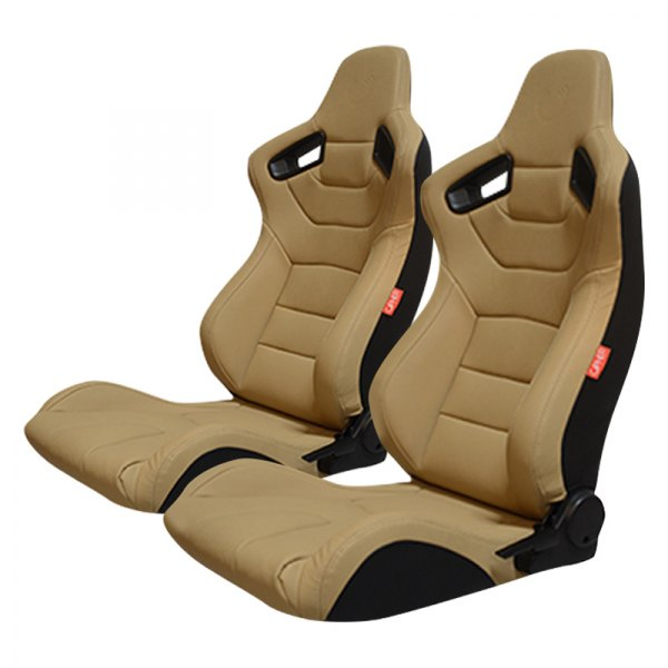 Cipher Auto® - CPA2009 Series Reclinable Steel Tubular Frame Racing Seats, Desert Sand Beige Leatherette with Beige Stitching and Fabric Cover