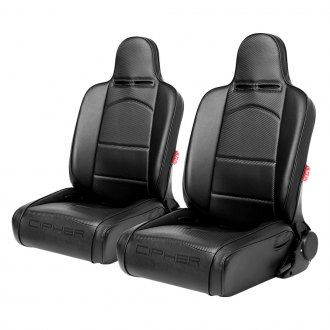 Cipher Auto® - CPA3002 Series Reclinable Steel Tubular Frame Suspension Seats, Black Leatherette Cover