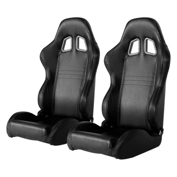 Image may not reflect your exact vehicle! Cipher® - CPA1007 Series Black Carbon Fiber PVC Racing Seats