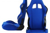 Cipher® - CPA1007 Series Blue Cloth Racing Seats, Front and Side View