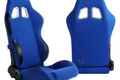 Cipher® - CPA1007 Series Blue Cloth Racing Seats, Side Angle and Back View