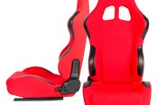 Cipher® - CPA1007 Series Red Cloth Racing Seats, Front and Side View