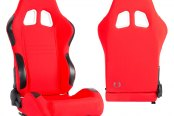 Cipher® - CPA1007 Series Red Cloth Racing Seats, Side Angle and Back View