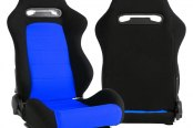 Cipher® - CPA1013 Series Black Cloth with Blue Insert Racing Seats, Side Angle and Back View