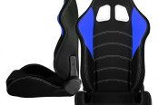 Cipher® - CPA1017 Series Black Cloth with Blue Insert Racing Seats, Front and Side View