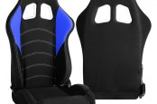 Cipher® - CPA1017 Series Black Cloth with Blue Insert Racing Seats, Side Angle and Back View