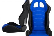 Cipher® - CPA1018 Series Black Cloth with Blue Insert Racing Seats, Front and Side View