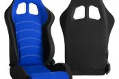 Cipher® - CPA1018 Series Black Cloth with Blue Insert Racing Seats, Side Angle and Back View