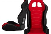 Cipher® - CPA1018 Series Black Cloth with Red Insert Racing Seats, Front and Side View