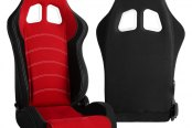 Cipher® - CPA1018 Series Black Cloth with Red Insert Racing Seats, Side Angle and Back View