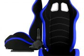 Cipher® - CPA1018 Series Black Cloth with Blue Trim Racing Seats, Front and Side View