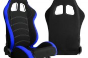 Cipher® - CPA1018 Series Black Cloth with Blue Trim Racing Seats, Side Angle and Back View